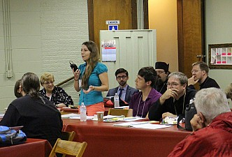 2016 Parish Forum attendee shares hopes for the future of her parish with interested Forum attendees.